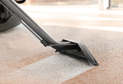 Image of a cleaning a carpet using a carpet cleaning wand.